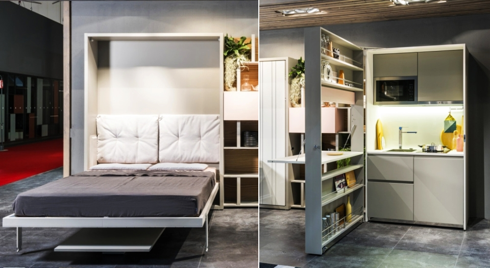Clei two-in-one hideaway kitchen and Murphy bed