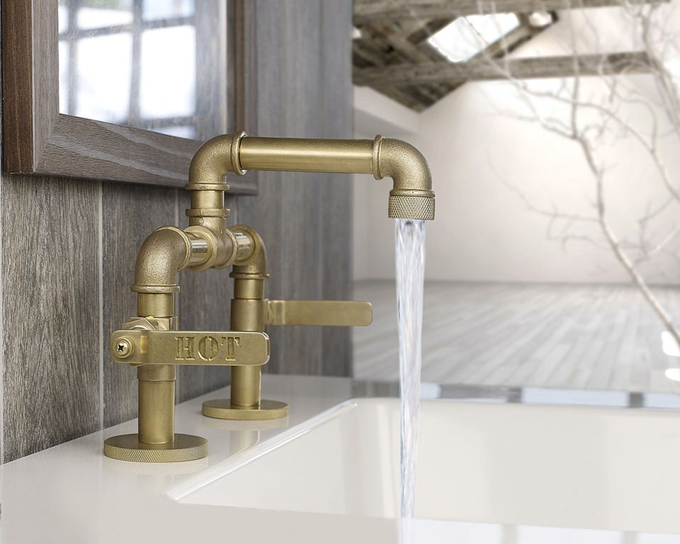 Faucets are magnificently carved with Hot/Cold tags on the lever handle