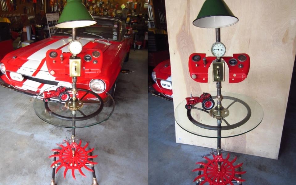 Farmall tractor-themed steampunk floor lamp