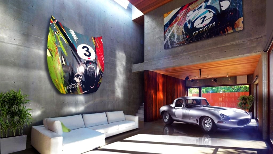 Jaguar-inspired bonnet wall art by Design Piero Auto Art