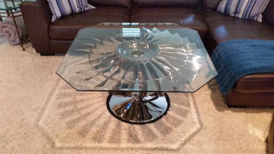 Jet Engine Coffee Table Made From Boeing 737 Pratt & Whitney JT8D