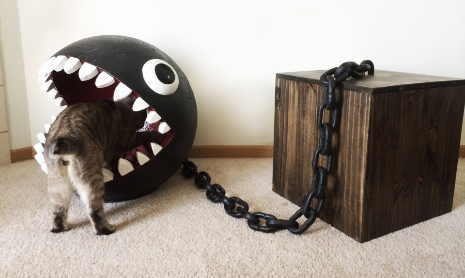 Mario's Chain Chomp-inspired cat bed