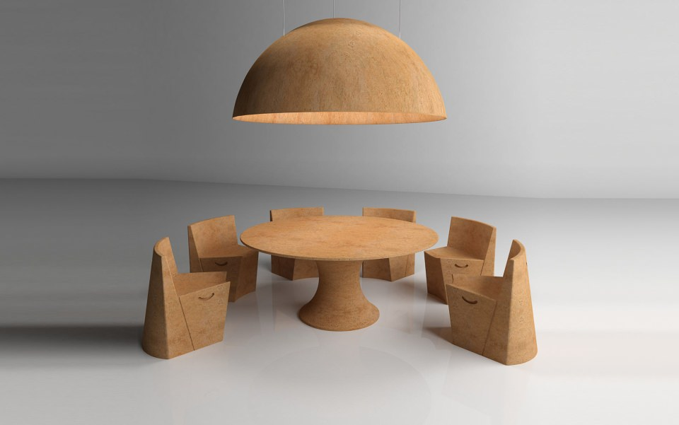 The table top and luminaire is made from corkbolt, while chairs and table top from single block of cork