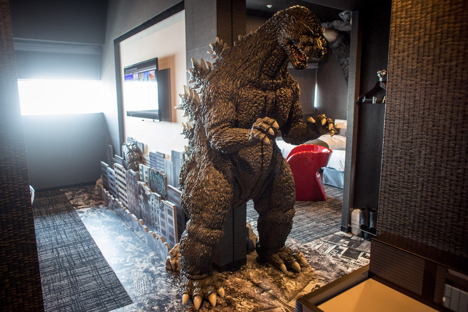 The Godzilla Themed Room with human sized replica of lizard