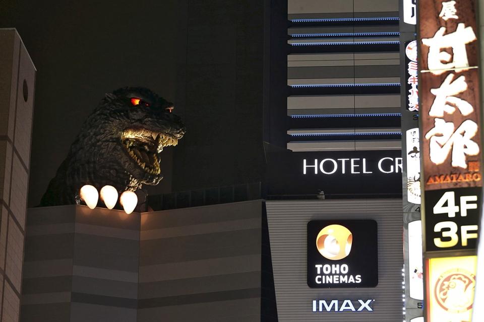 View of Godzilla in night