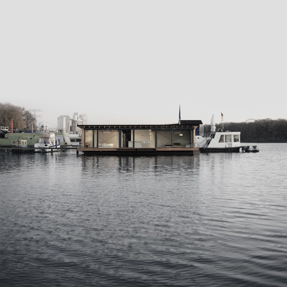 View of Modern Houseboat from the Lake Rummelsburg