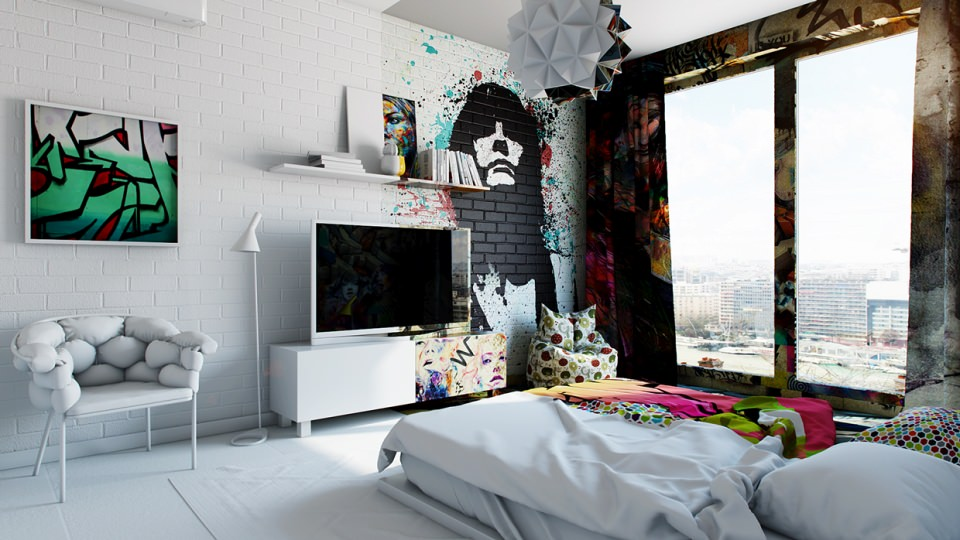 The colored portion is graffitied including the bed sheet, pillow , furniture and curtains