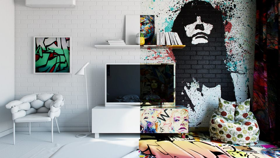 The clearly bisects the room between street art and pure white