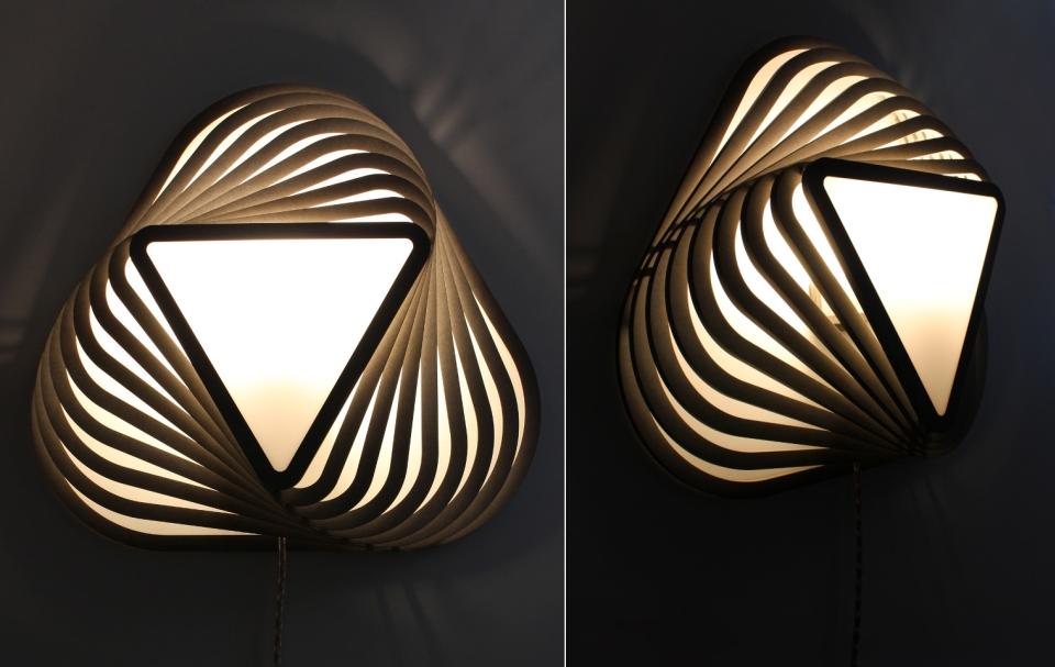 TWIK triangular wall lamp by Moeko