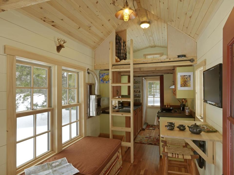 The interior view of the tiny house on wheels
