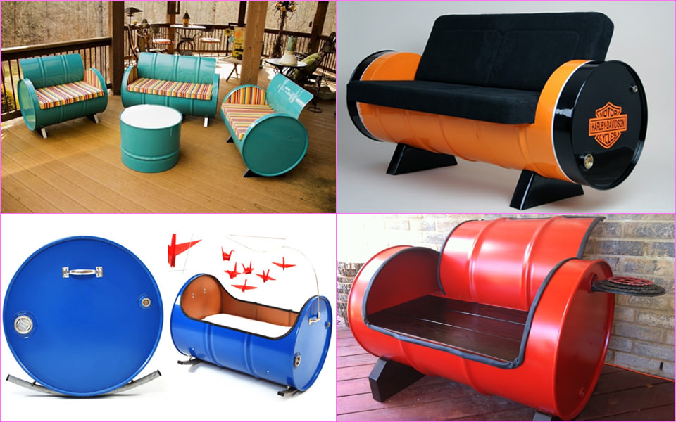 Recycled oil barrel furniture