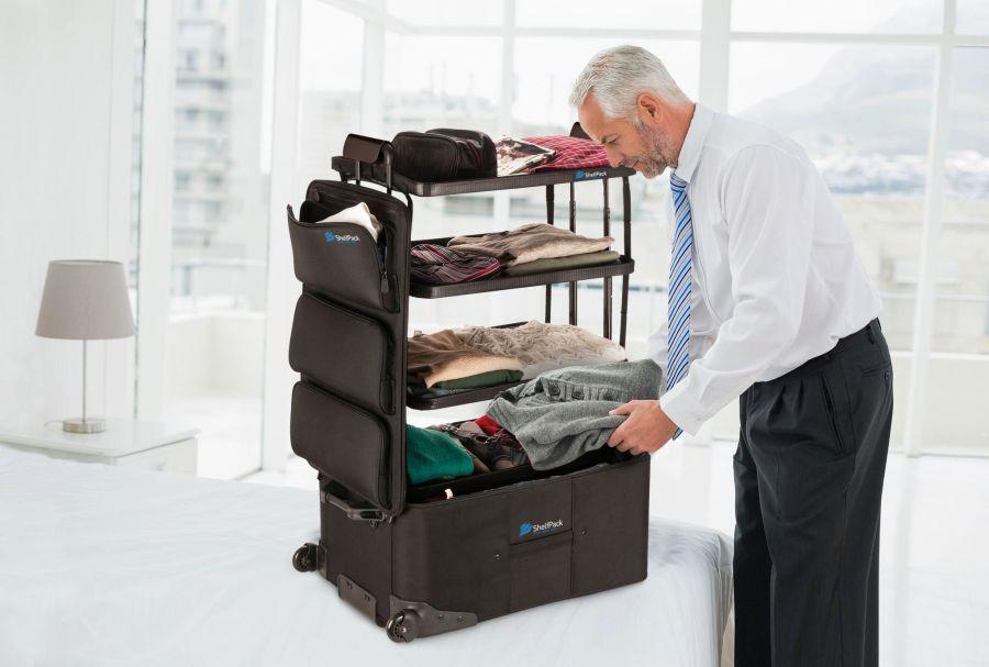 Shelfpack Suitcase doubles as shelf