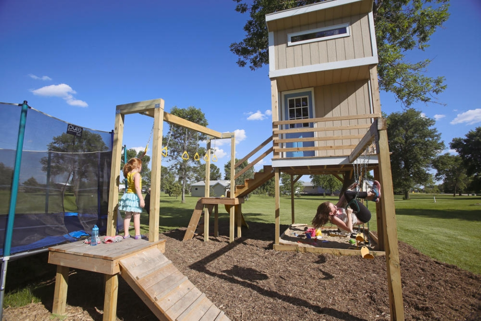 The treehouse with a loft, extended playground, monkey bars and sandbox