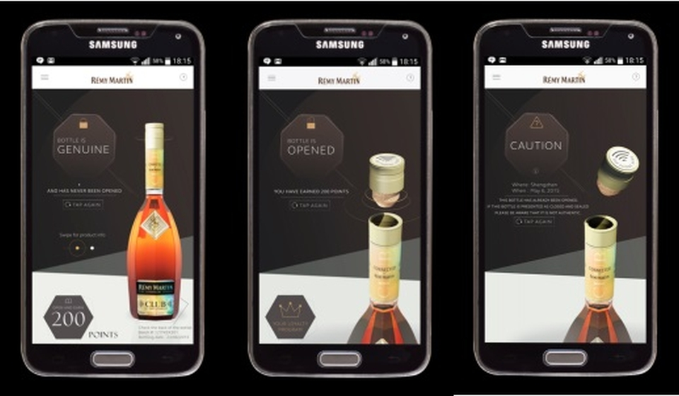 A dedicated smartphone application to earn rewards points and details regarding the bottle