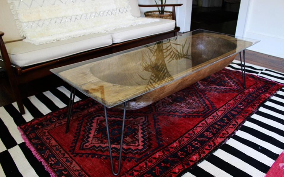 Antique dough bowl into chic coffee table