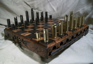 Steampunk-inspired chess with bullet shell pieces