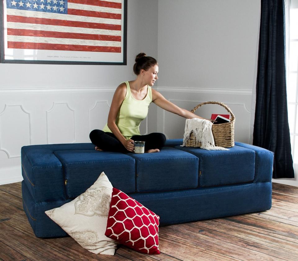Zepline Denim convertible sleeper sofa