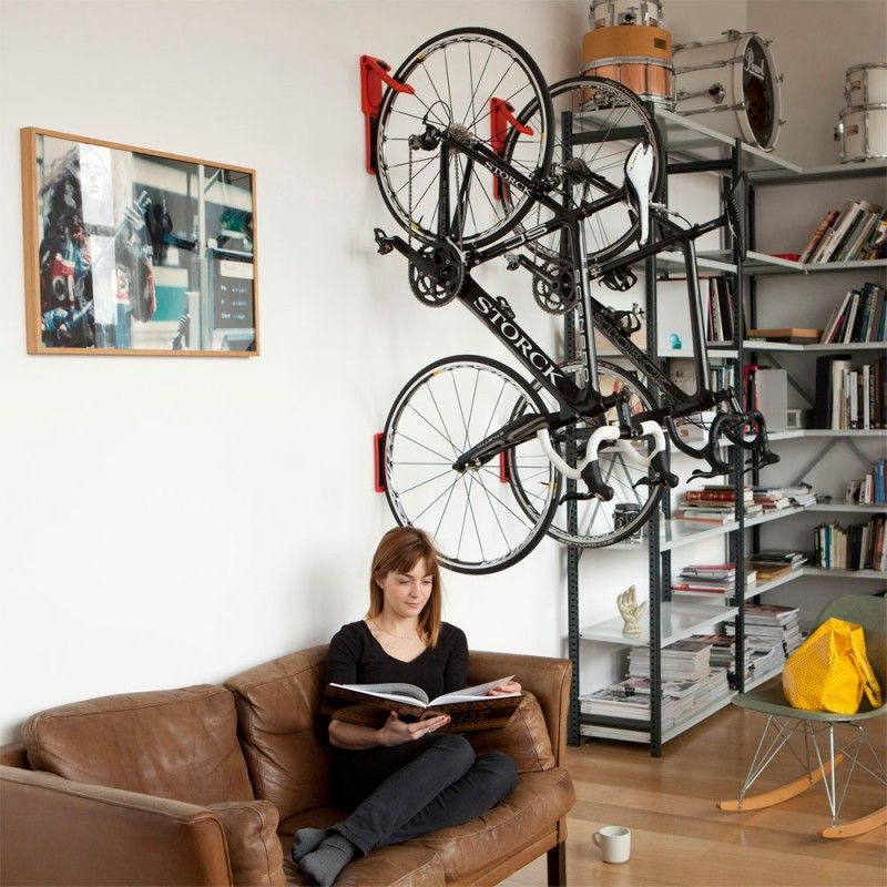 # Cycloc Endo Bike Rack: This colorful wall bike rack features rubber contact points to protect your wall and wheels from any unnecessary damage.