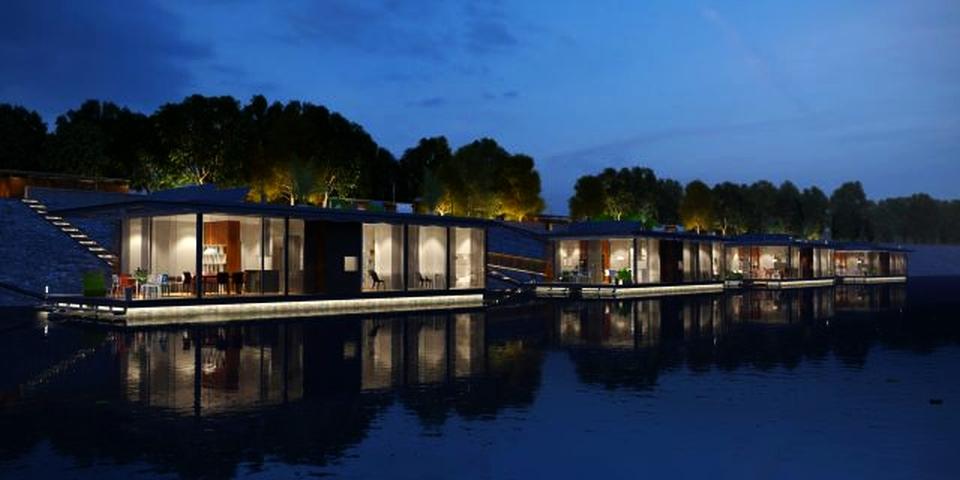 Floating houses on Danube, Budapest