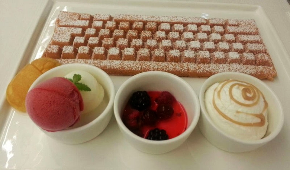 Keyboard waffles and mouse-shaped bread