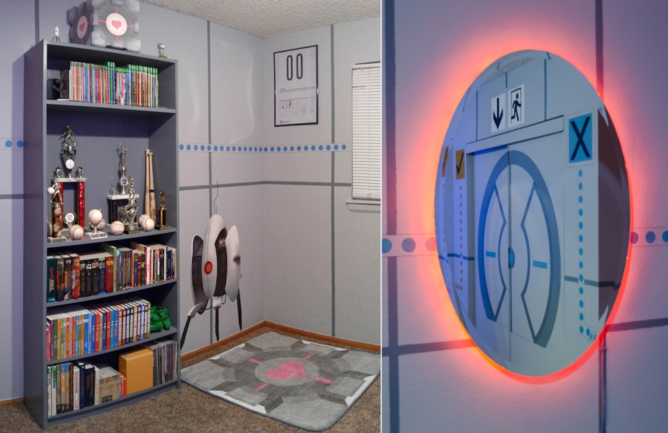 Portal-themed Bedroom
