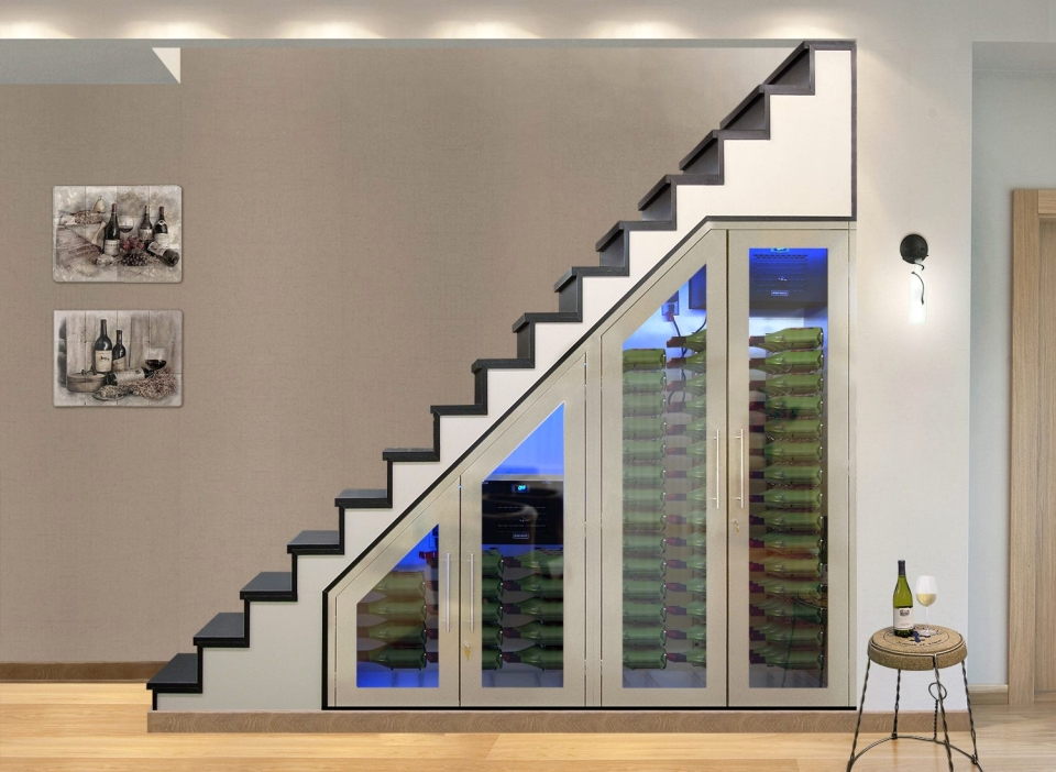 Vinotemp Brushed Stainless Modular Under Stairs Wine Cabinet