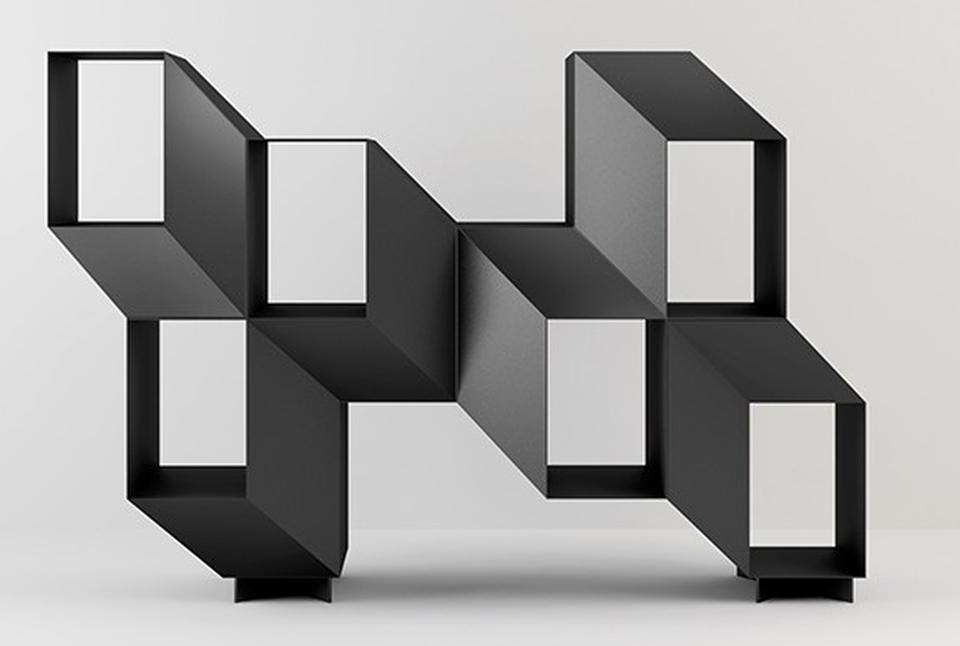 Charles Kalpakian turns optical illusion into Rocky shelving