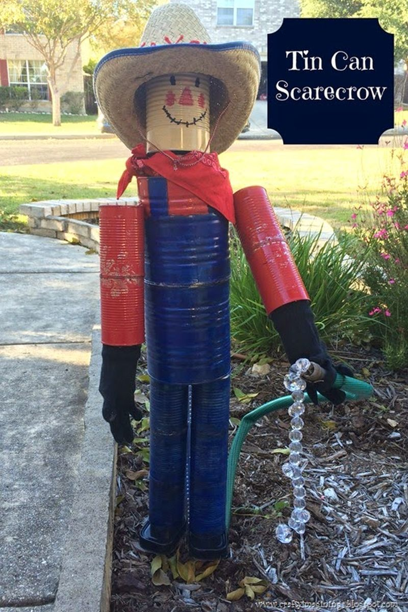DIY Tin Can Scarecrow