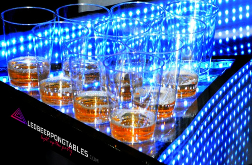 Infinity Glow LED beer pong table