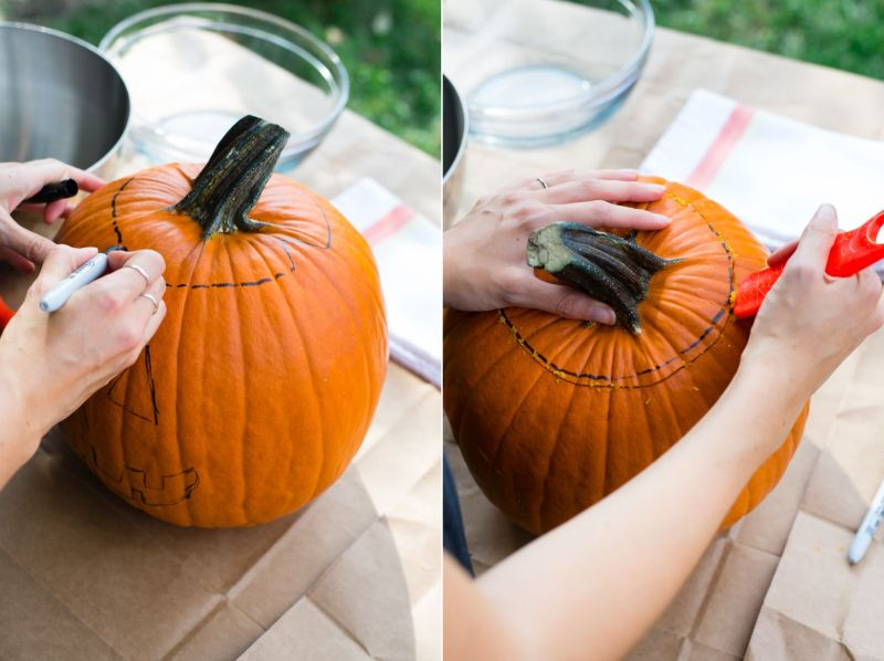 pumpkin carving tips - cutting the lid