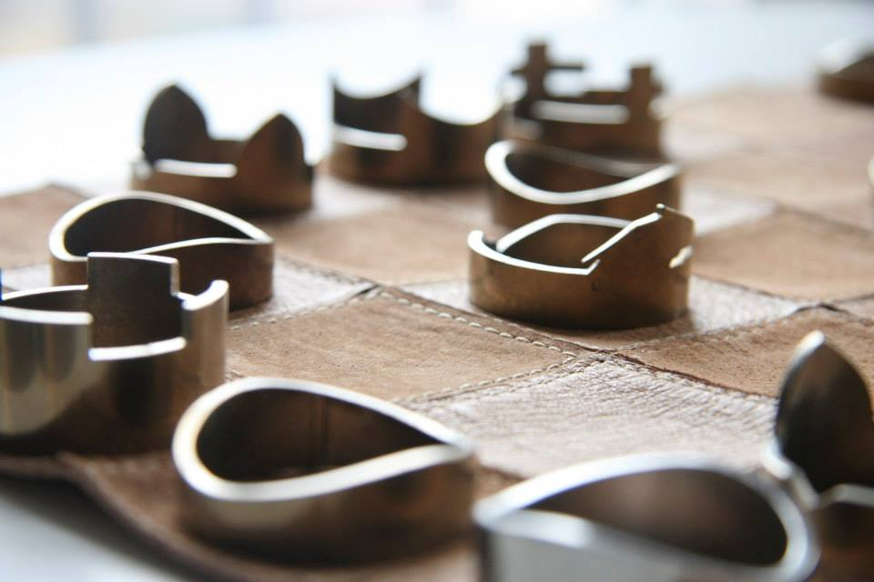 The leather chessbaird is made from Italian leather