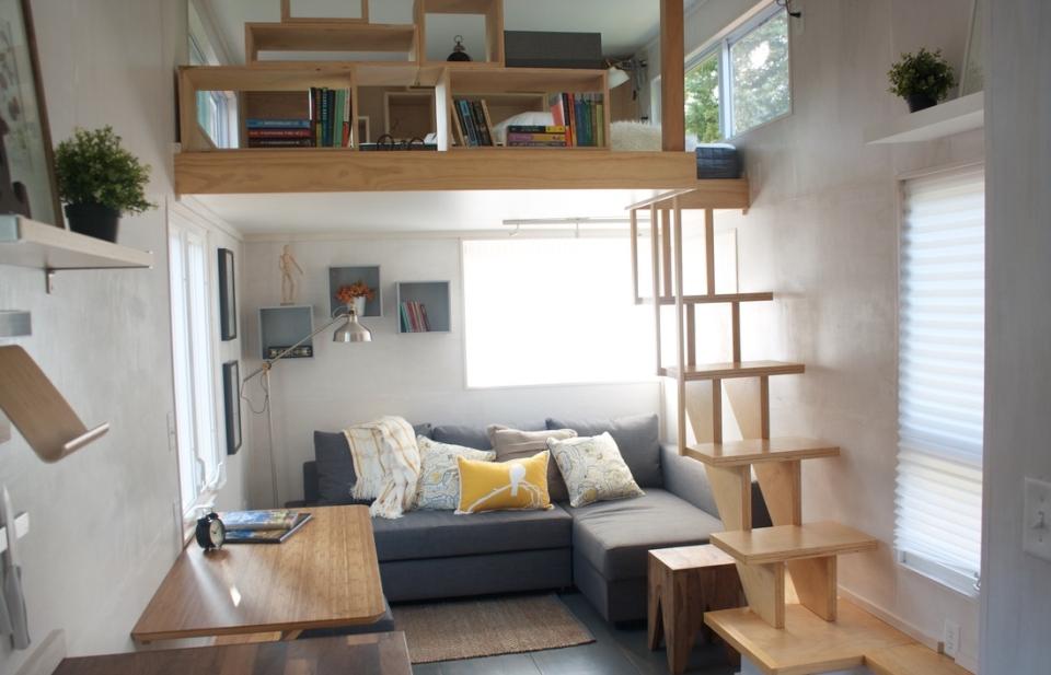 Living area with sleeping loft
