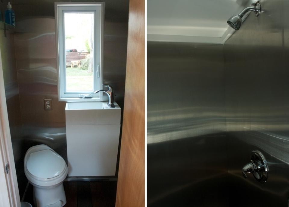 Compact bathroom with showerhead.