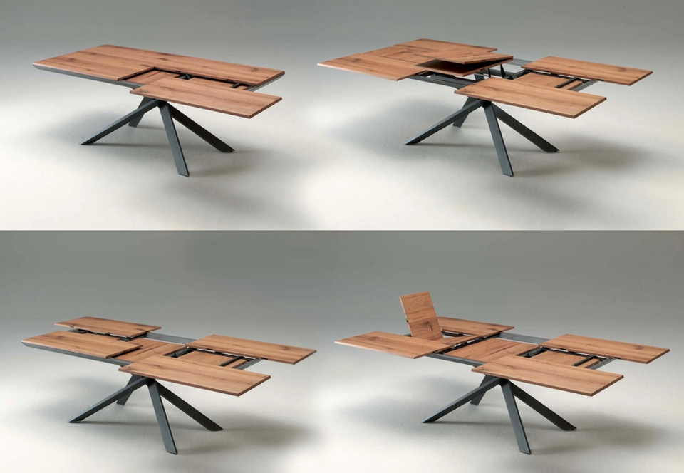4x4 Extendable Dining Table By Ozzio Is A Space Saving Furniture