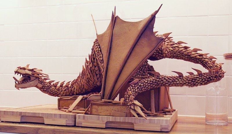 Gingerbread created in shape of Smaug the dragon from The Lords of rings.