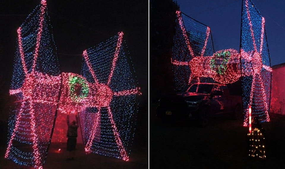 Life-sized TIE fighter Christmas Display