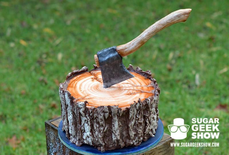 Lumberjack Tree Trunk Cake