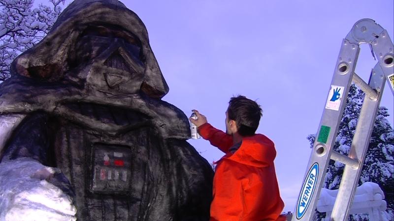 South Jordan man creates gigantic Snow Vader after winter storm