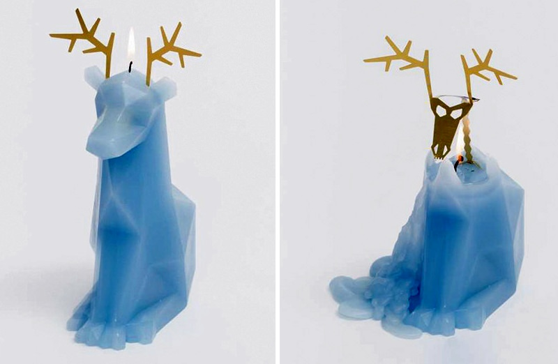 Animal-shaped candles reveal metallic skeleton as wax melts