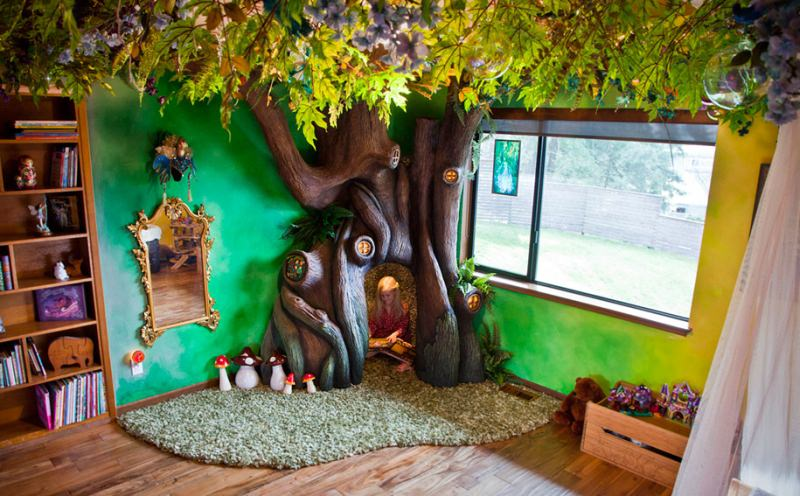 Dad brings fairytale treehouse straight into his daughter's room