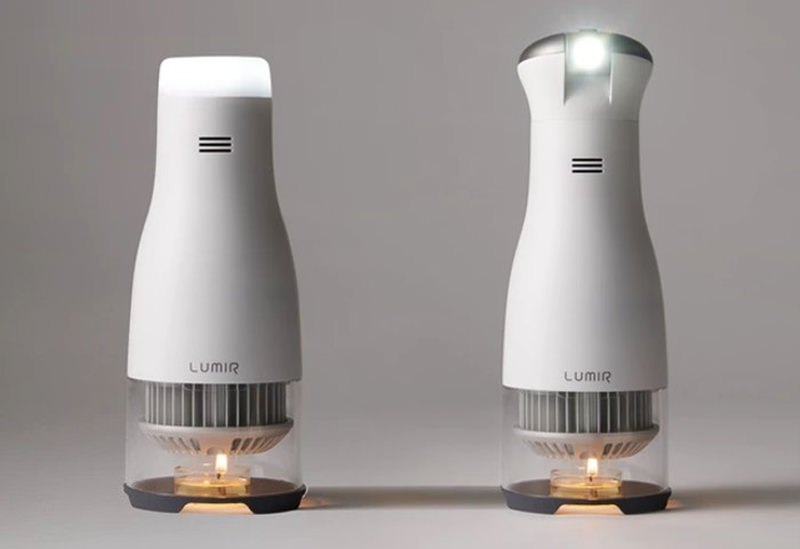 Lumir C LED lamp is powered by a small candle