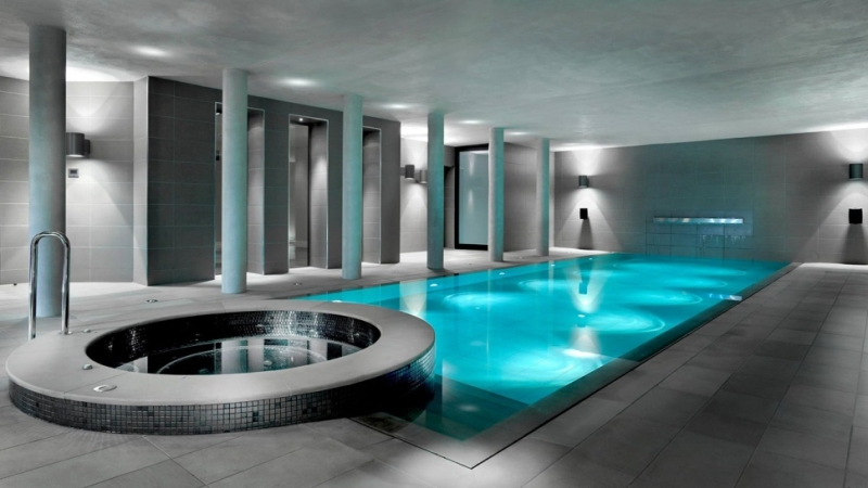 Moveable hydro-floor conceals swimming pool underneath