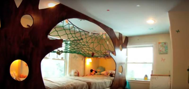 Indoor treehouse bed