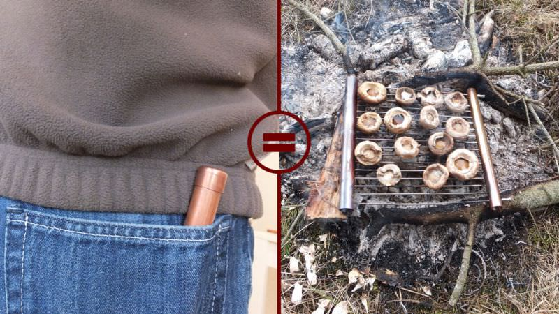 DIY portable barbecue grill fits snugly into your pocket
