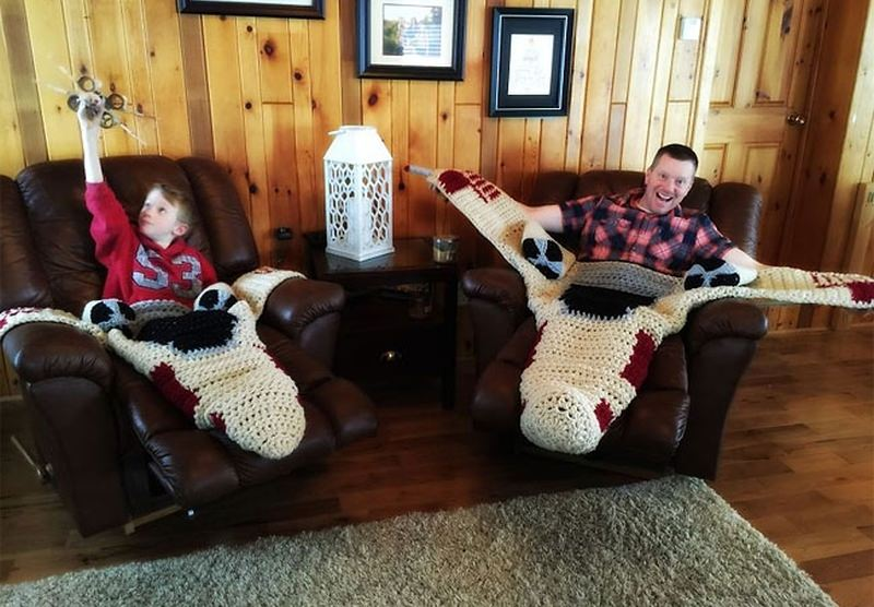 Crocheted X-Wing Starfighter Blanket by Michelle J Moore