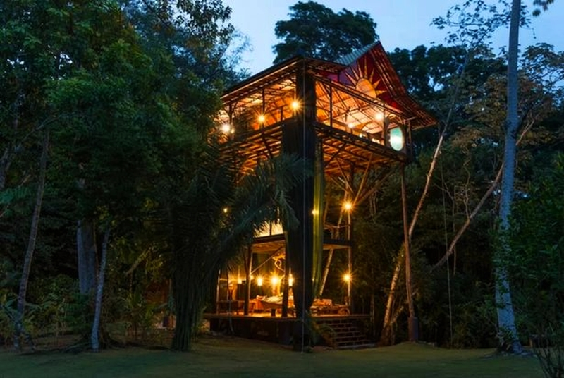 View of towering treehouse in the evening