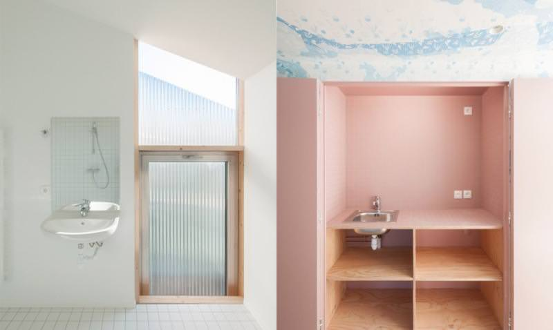 Although the building supports white, but the corridor is provided with light blue patterned wallpaper and kitchen with pastel pink tiling