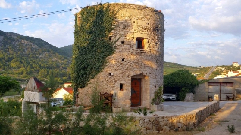 Hvar's old stone tower as vacation home