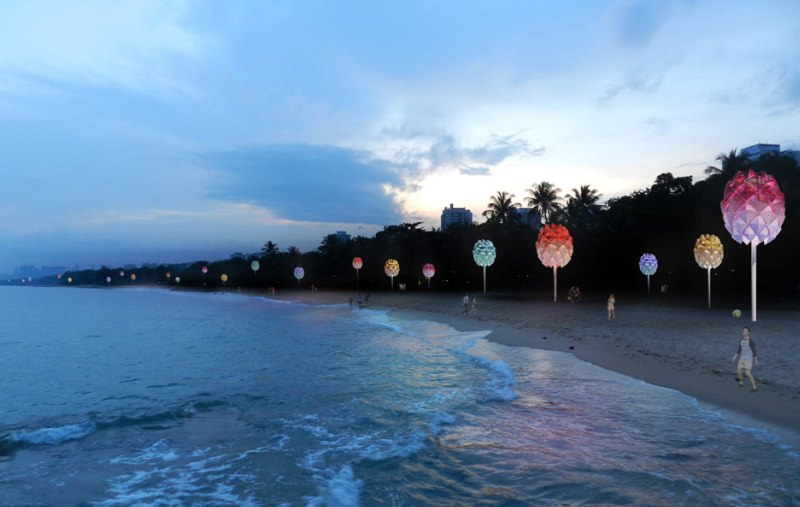 Spark creates pine cone-shaped beach huts using plastic waste