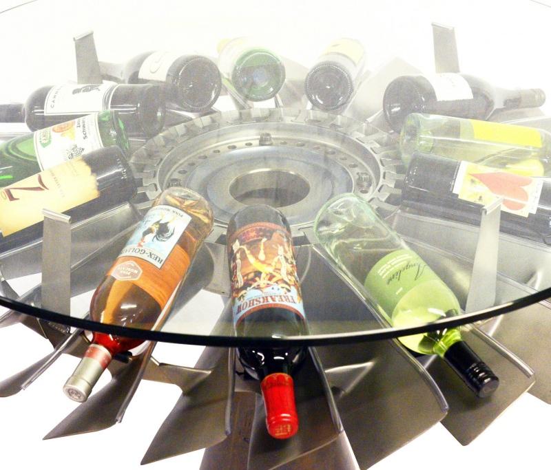 DC-9 JT8D Engine Rotor Wine Bottle Table
